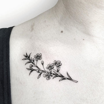 Fine Line Flora Tattoo done by Deanna Lee