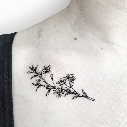 Fine Line Flora Tattoo - Deanna Lee