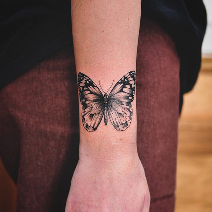 Fine Line Butterfly Tattoo - Deanna Lee