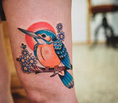 Bright and Colourful Kingfisher Tattoo - Kane Berry