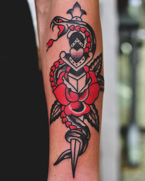 Red and Black Traditional Tattoo - Lachie Grenfell