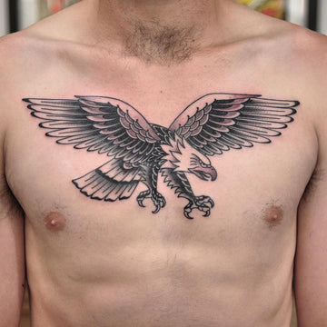 Black and Grey Traditional Eagle Chest Tattoo by Wade Johnston