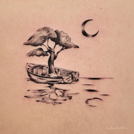 Micro Detail Fine Line Boat Tattoo - Deanna Lee