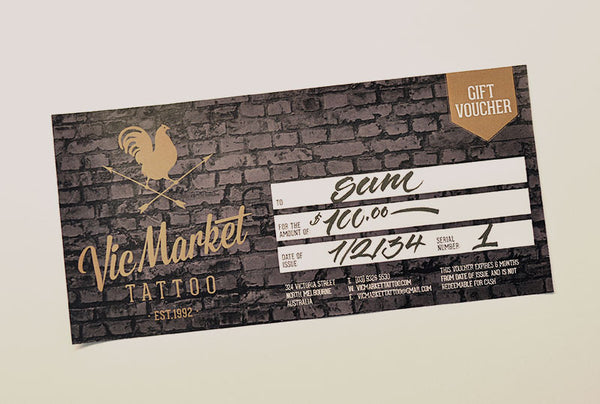 $100 Tattoo Gift Voucher - Vic Market Tattoo