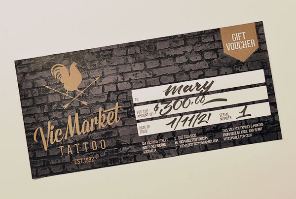$300 Tattoo Gift Voucher - Vic Market Tattoo
