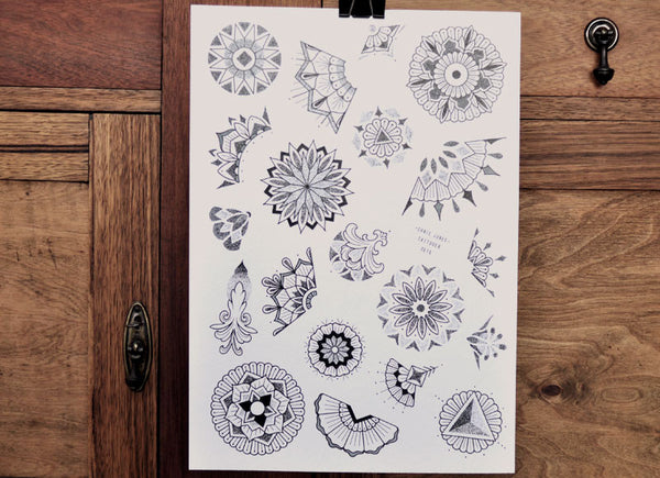 Dotwork Mandala - Tattoo Flash Sheet - Chris Jones