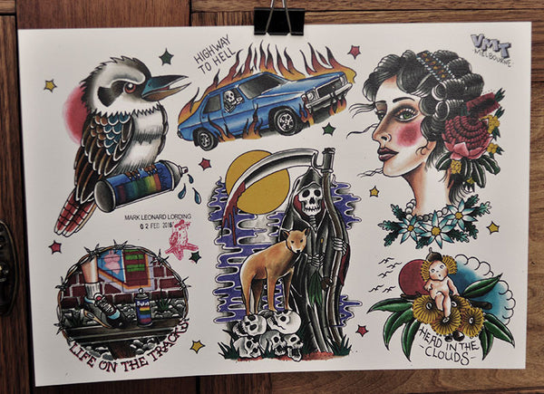 Highway To Hell - Tattoo Flash Sheet - Mark Lording