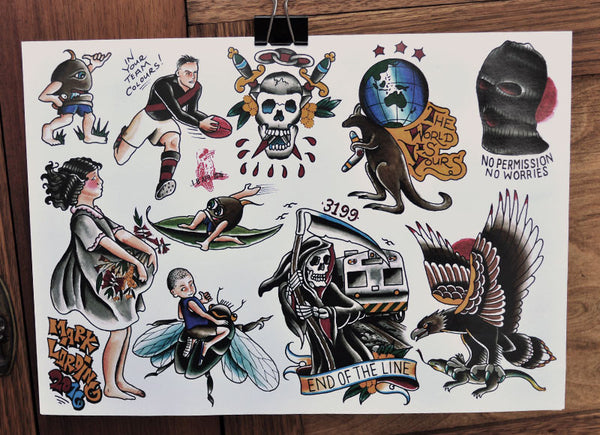 End Of The Line - Tattoo Flash Sheet - Mark Lording