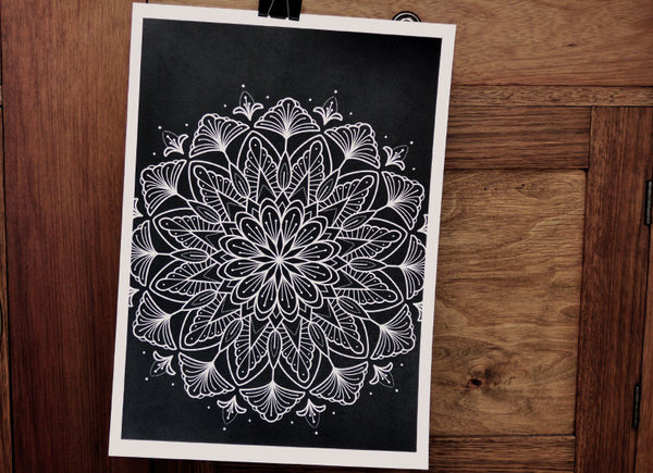 Black Mandala - A3 Tattoo Print - Chris Jones