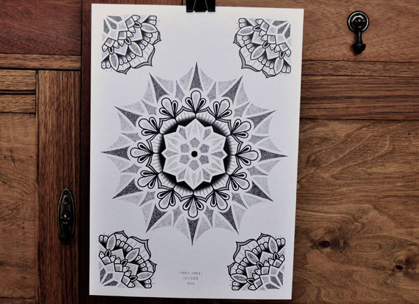 Dotwork Mandala - A3 Tattoo Print - Chris Jones