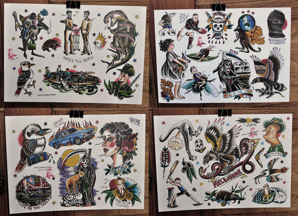 Set Of 4 - Tattoo Flash Sheets - Mark Lording