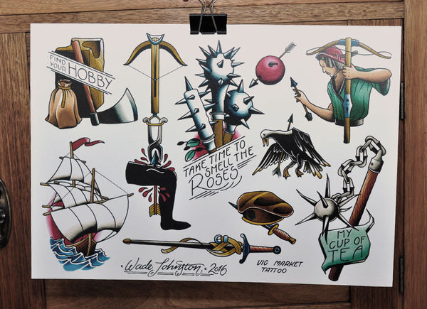 Crossbow - Tattoo Flash Sheet - Wade Johnston