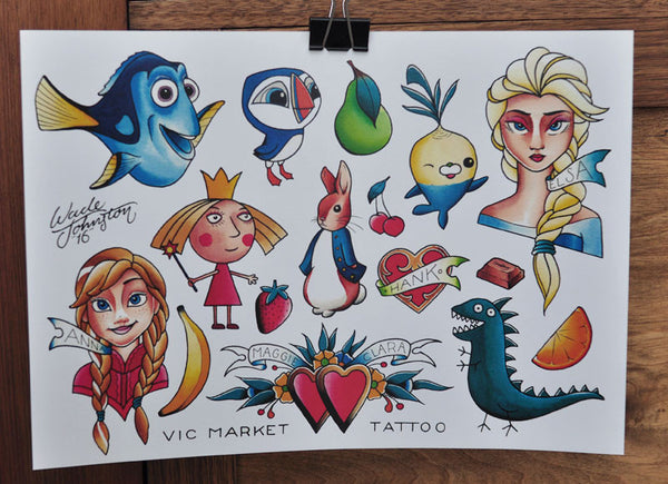Maggies Birthday - Tattoo Flash Sheet - Wade Johnston
