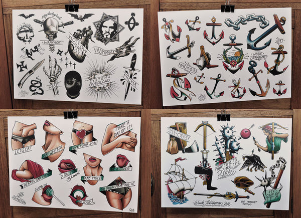 Set of 4 - Tattoo Flash Sheets - Wade Johnston