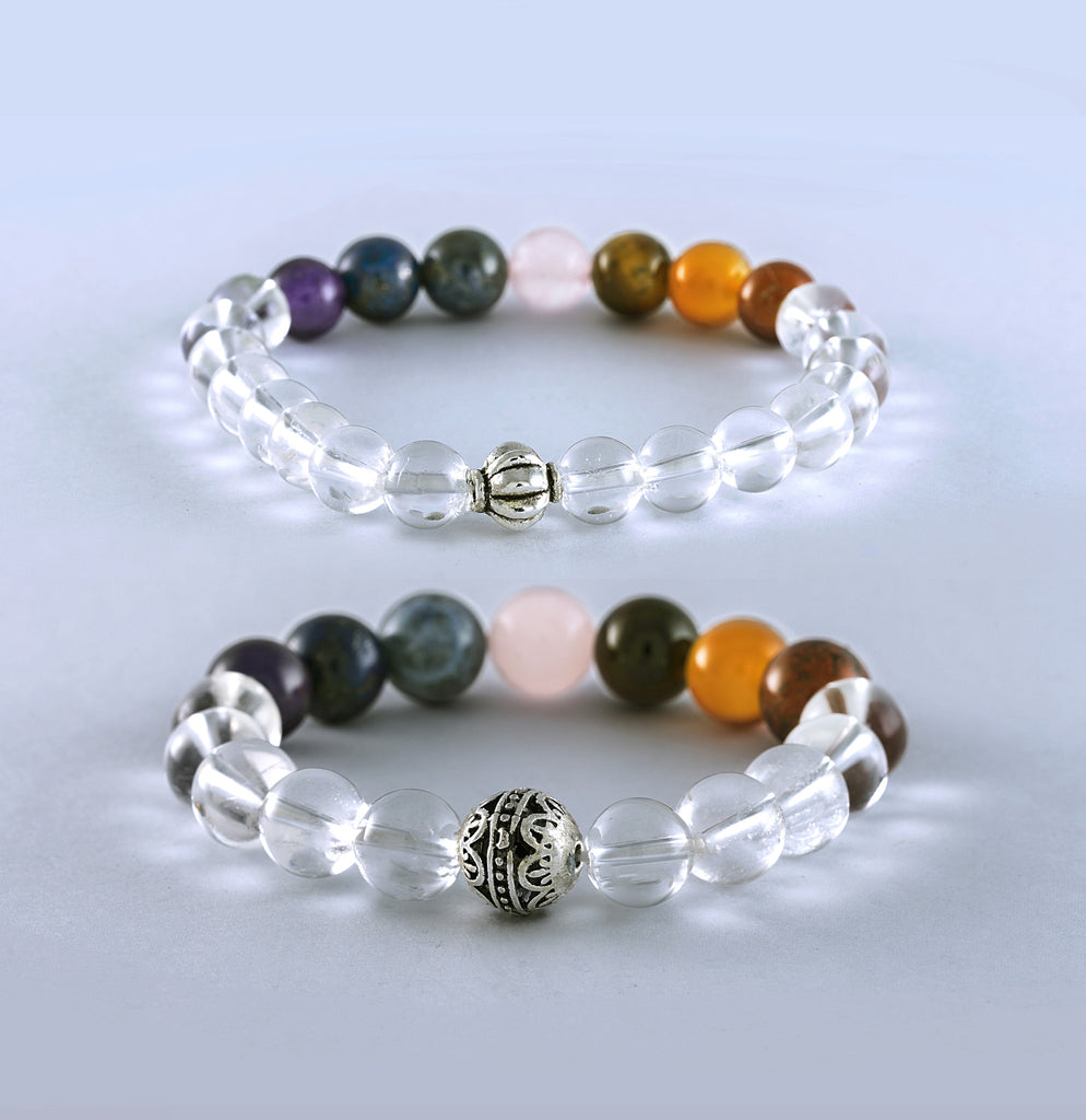 Chakra Stones with Clear Quartz Healing Bracelet