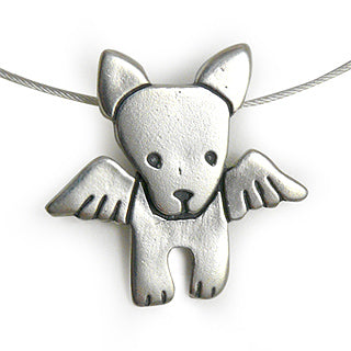 dog angel sterling silver charm necklace
