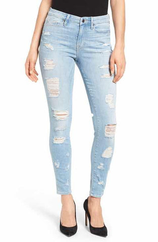 good american ripped skinny jeans light denim made in the USA Cinnia Boutique