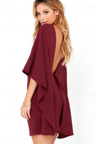 burgundy backless dress made in usa