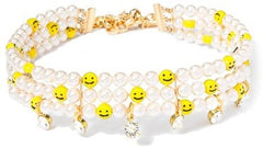 smile smiley faux pearl choker made in usa