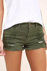 olive green cutoff shorts made in usa