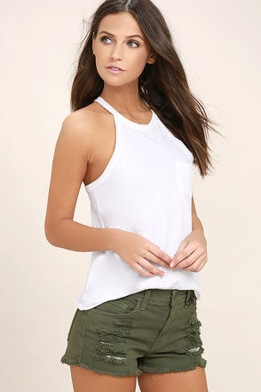 olive cutoff shorts made in usa