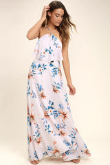 peach floral maxi dress made in usa