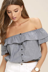 grey stripe off the shoulder ruffle top made in usa