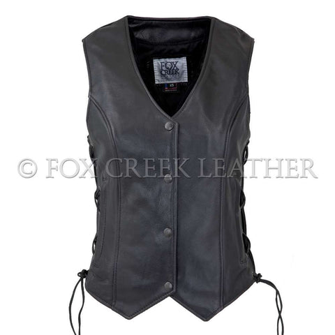 vixen motorcycle vest black leather made in usa