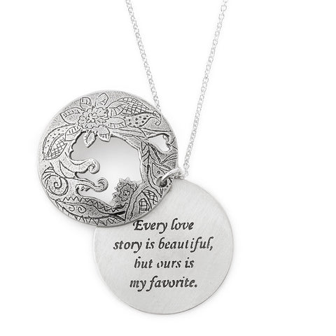 love story medallion romantic necklace made in usa