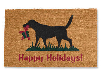 happy holidays dog welcome mat made in usa