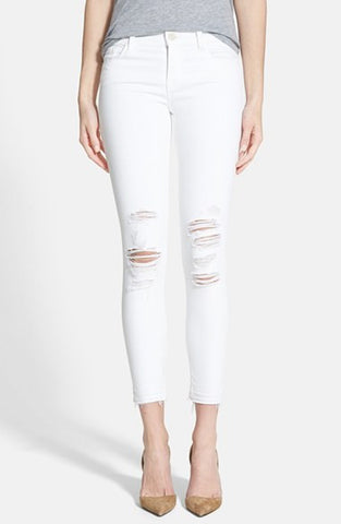 low rise white crop jeans distressed made in the USA Cinnia Boutique