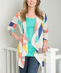 multicolor yellow blue pink long cardigan made in usa
