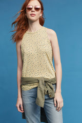 yellow olive floral top sleeveless made in usa