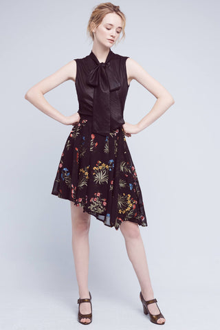 black floral asymmetric skirt made in usa