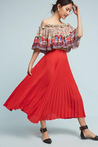 red pleated skirt made in usa