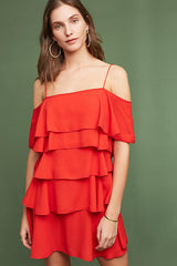 ruffle red dress made in usa
