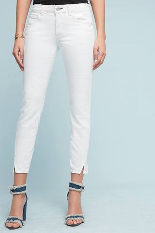 mid rise skinny jeans white ankle slit made in usa Cinnia Boutique