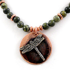dragonfly necklace copper olive green made in usa