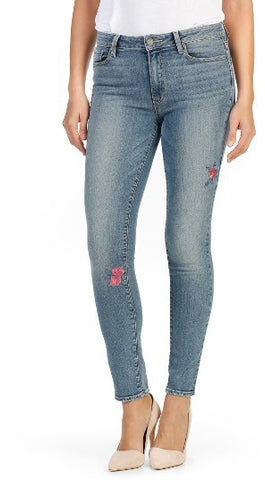 high waist skinny jean embroidered rose made in the usa Cinnia Boutique