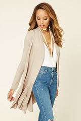 tan khaki long cardigan made in usa