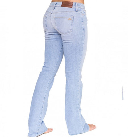 bombshell light blue denim bootcut jeans made in the USA Cinnia Boutique
