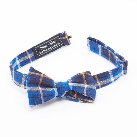 blue orange plaid bow tie made in the usa