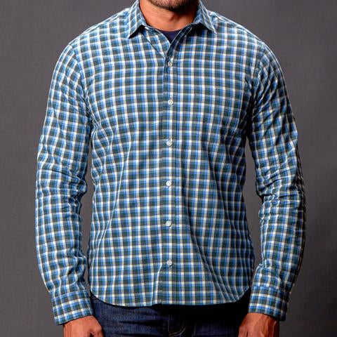 Blue grey heather check shirt made in usa