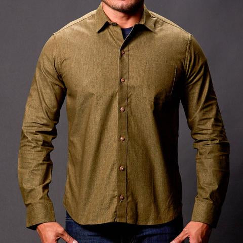 men's shirt made in usa olive chambray