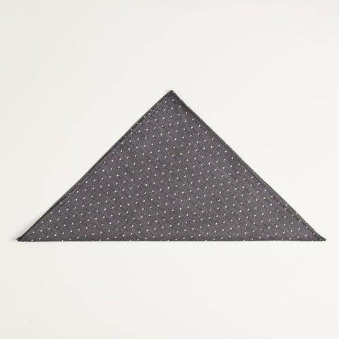 charcoal grey polka dot pocket square made in the usa