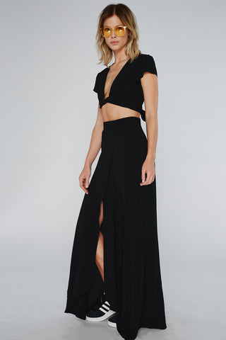 black slit wrap skirt made in usa