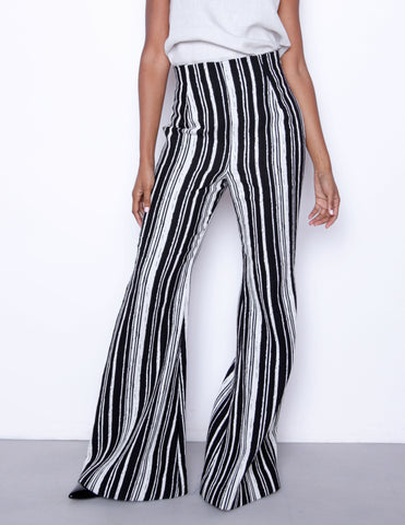 designer black white stripe pant made in usa