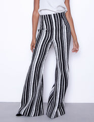 black white high waist stripe pants made in usa
