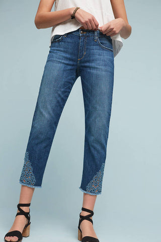 embroidered mid rise cropped jean made in the usa Cinnia Boutique