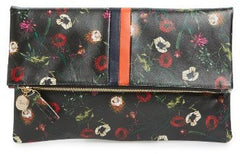 floral leather clutch made in usa